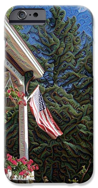 American Flag iPhone Cases - Summer Porch Americana iPhone Case by Ruth Koob