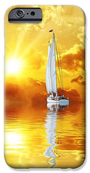 Sailboats iPhone Cases - Summer Sun and Fun iPhone Case by Gabriella Weninger - David