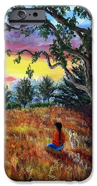 Summer Sunset Meditation iPhone Case by Laura Iverson