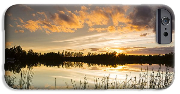 Trees Reflecting In Water iPhone Cases - Summer Sunset Over Six Mile Lake iPhone Case by Michael DeYoung