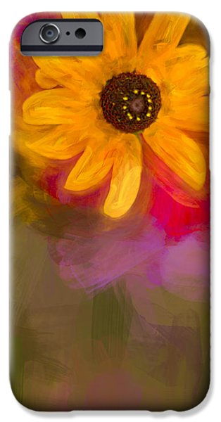 Red Abstract iPhone Cases - Summer Sunshine - Painting 2 by fleblanc iPhone Case by F Leblanc