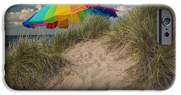 Flying Seagull iPhone Cases - Summertime at the Beach iPhone Case by Randall Nyhof