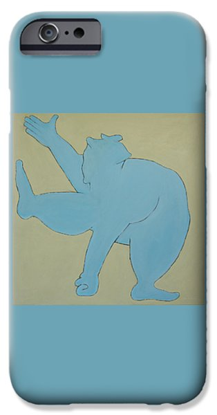 Cut-outs iPhone Cases - Sumo Wrestler In Blue iPhone Case by Ben Gertsberg