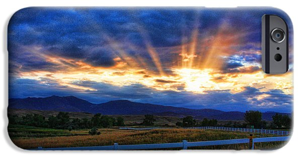 Stock Images iPhone Cases - Sun beams in the sky at sunset iPhone Case by James BO  Insogna