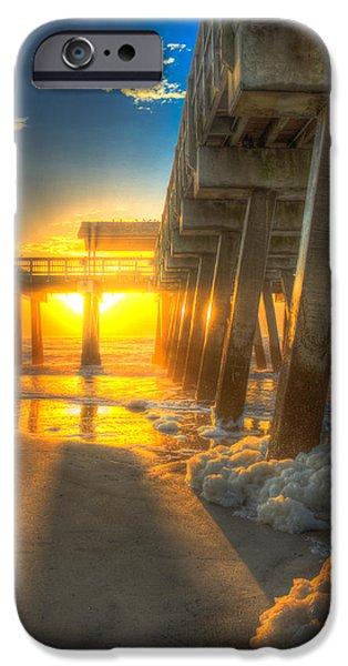 Tybee Island Pier iPhone Cases - Sun Block Tybee Island Pier iPhone Case by Reid Callaway