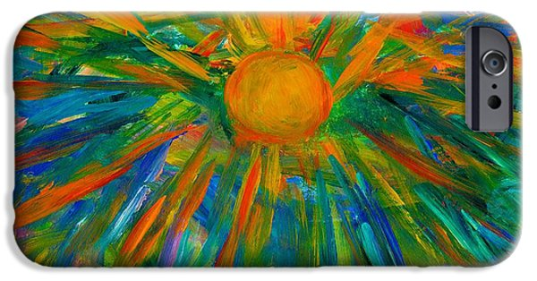 Abstract Expressionist iPhone Cases - Sun Burst iPhone Case by Kendall Kessler