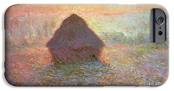 Agricultural Paintings iPhone Cases - Sun in the Mist iPhone Case by Claude Monet