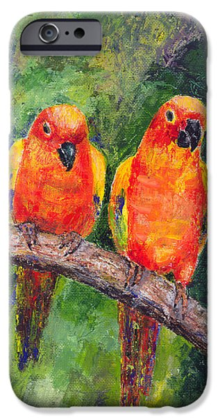 Lovebird iPhone Cases - Sun Parakeets iPhone Case by Arline Wagner