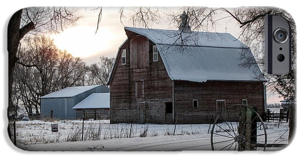 Red Barn In Winter iPhone Cases - Sun Rise Barn #1 iPhone Case by Jeffrey Henry