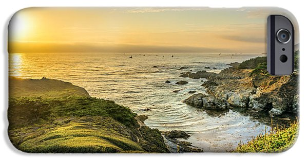 Boat iPhone Cases - Sun Setting at Big Sur iPhone Case by James Udall