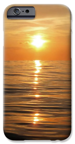 Sparkling iPhone Cases - Sun setting over calm waters iPhone Case by Nicklas Gustafsson