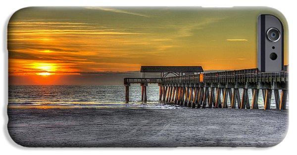 Tybee Island Pier iPhone Cases - Sun Up Reflections On Tybee Island Pier iPhone Case by Reid Callaway