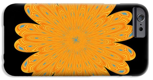 Abstract Digital Photographs iPhone Cases - Sunburst Bloom iPhone Case by Kathy K McClellan