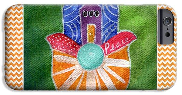 House Art iPhone Cases - Sunburst Hamsa with Chevron Border iPhone Case by Linda Woods