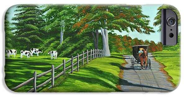 Horse And Buggy iPhone Cases - Sunday Drive iPhone Case by Charlotte Blanchard