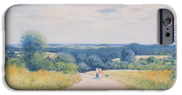 Outdoors Pastels iPhone Cases - Sunday Stroll iPhone Case by Anthony Rule