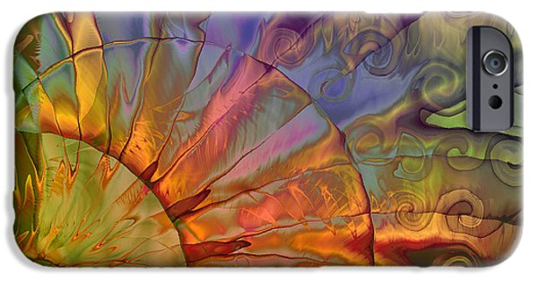 Fractal Paintings iPhone Cases - Sundial iPhone Case by Mindy Sommers