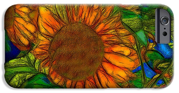 Abstract Digital Art iPhone Cases - Sunflower - 2 iPhone Case by Jean-Marc Lacombe