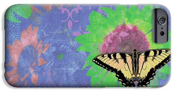 Butterfly Paintings iPhone Cases - Sunflower Butterfly Blue iPhone Case by JQ Licensing