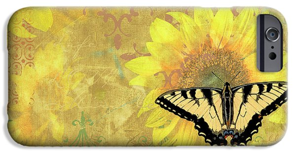 Plants iPhone Cases - Sunflower Butterfly Yellow Gold iPhone Case by JQ Licensing