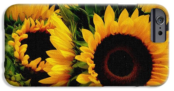 Abstract Digital Pastels iPhone Cases - Sunflower Cheer Up H b iPhone Case by Gert J Rheeders