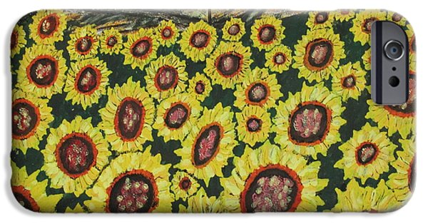 Old Barns iPhone Cases - Sunflower Fields  Forever iPhone Case by Jeffrey Koss
