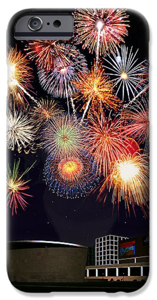 Fireworks Drawings iPhone Cases - Sunflower Fireworks at the Van Gogh Museum iPhone Case by Jose A Gonzalez Jr