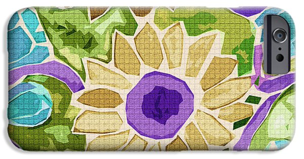 Still Life Tapestries - Textiles iPhone Cases - Sunflower Gold iPhone Case by FabricWorks Studio