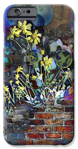 Abstract Digital iPhone Cases - Sunflower Graffiti iPhone Case by Lisa S Baker