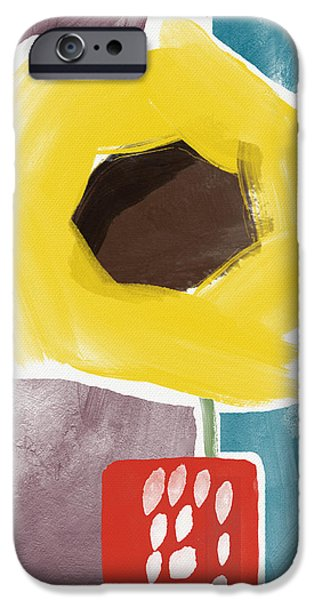 Abstract Sunflower iPhone Cases - Sunflower In A Small Vase- Art by Linda Woods iPhone Case by Linda Woods