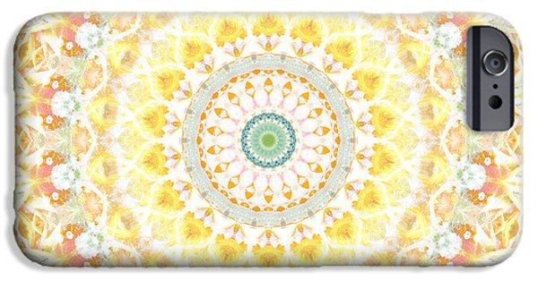 Corporate Art iPhone Cases - Sunflower Mandala- Abstract Art by Linda Woods iPhone Case by Linda Woods