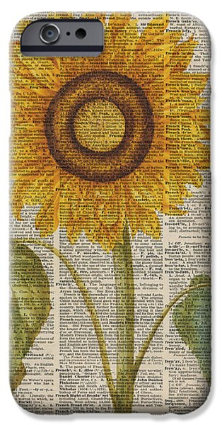 Mixed Media Drawings iPhone Cases - Sunflower over dictionary page iPhone Case by Jacob Kuch