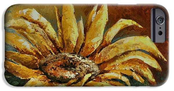 Pallet Knife Paintings iPhone Cases - Sunflower study iPhone Case by Michael Lang