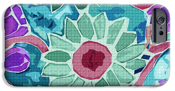 Still Life Tapestries - Textiles iPhone Cases - Sunflower Teal iPhone Case by FabricWorks Studio