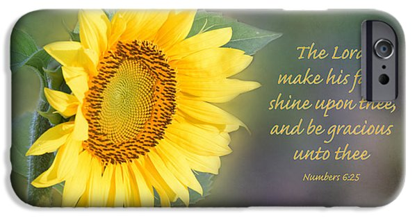 Design iPhone Cases - Sunflower with Bible Verse iPhone Case by Deborah Berry