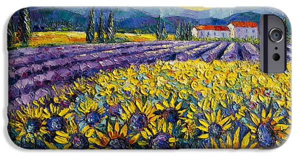 Mountain iPhone Cases - Sunflowers And Lavender Field - The Colors Of Provence iPhone Case by Mona Edulesco