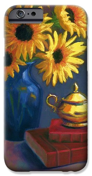 Janet King iPhone Cases - Sunflowers and Sugar Bowl iPhone Case by Janet King