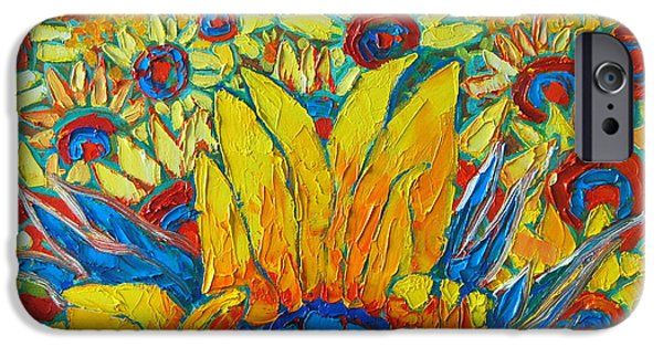 Abstract Expressionist iPhone Cases - Sunflowers Field In Sunrise Light iPhone Case by Ana Maria Edulescu