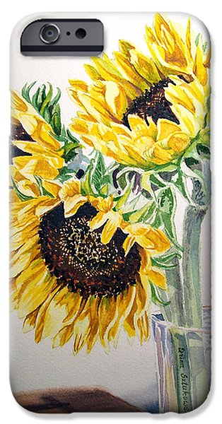 Sunflowers iPhone Cases - Sunflowers iPhone Case by Irina Sztukowski