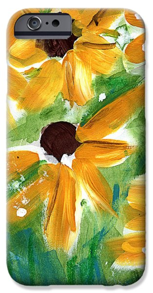Abstract Sunflower iPhone Cases - Sunflowers iPhone Case by Linda Woods