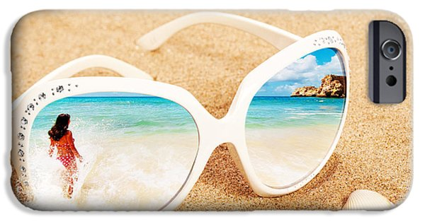 Concept Photographs iPhone Cases - Sunglasses In The Sand iPhone Case by Amanda And Christopher Elwell