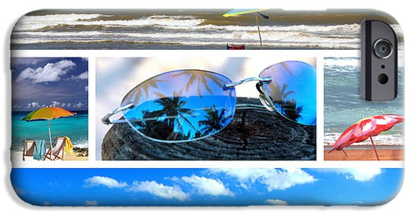 Reflection Of Sun In Clouds iPhone Cases - Sunglasses needed in Paradise iPhone Case by Susanne Van Hulst