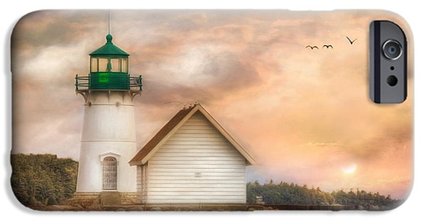 Lighthouse Mixed Media iPhone Cases - Sunken Rock at Sunrise iPhone Case by Lori Deiter