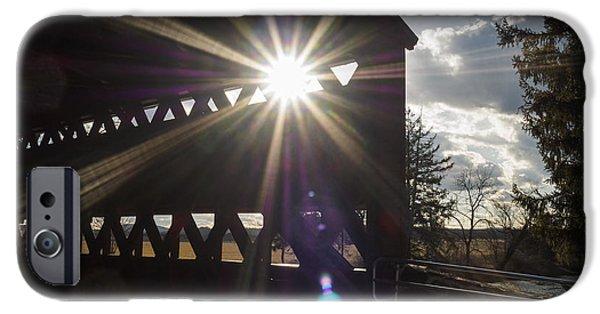 Covered Bridge iPhone Cases - Sunlight through Sachs Covered Bridge  iPhone Case by Marianne Campolongo