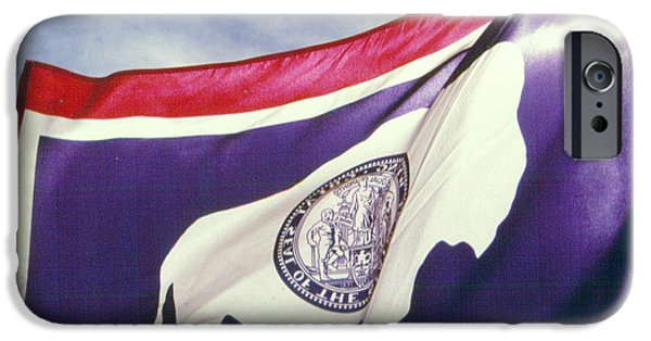 States Reliefs iPhone Cases - Sunlight Through the Wyoming State Flag iPhone Case by Nena Trapp