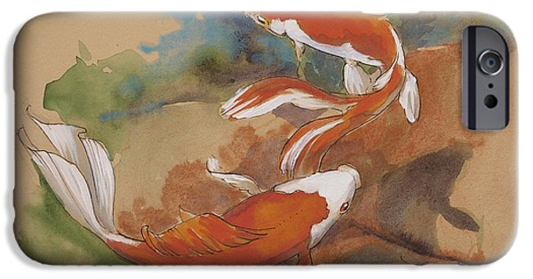 Fish Pond iPhone Cases - Sunlit Goldfish iPhone Case by Tracie Thompson