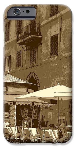 Sunny Italian Cafe - Sepia iPhone Case by Carol Groenen