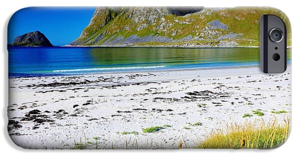 Norway iPhone Cases - Sunny North Atlantic Fjordland Beach iPhone Case by David Broome