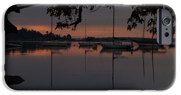 Sailboat Ocean iPhone Cases - Sunrise and Sailboats iPhone Case by Jerome K