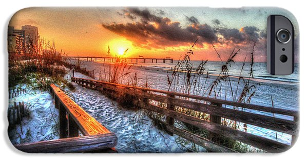Micdesigns iPhone Cases - Sunrise at Cotton Bayou  iPhone Case by Michael Thomas